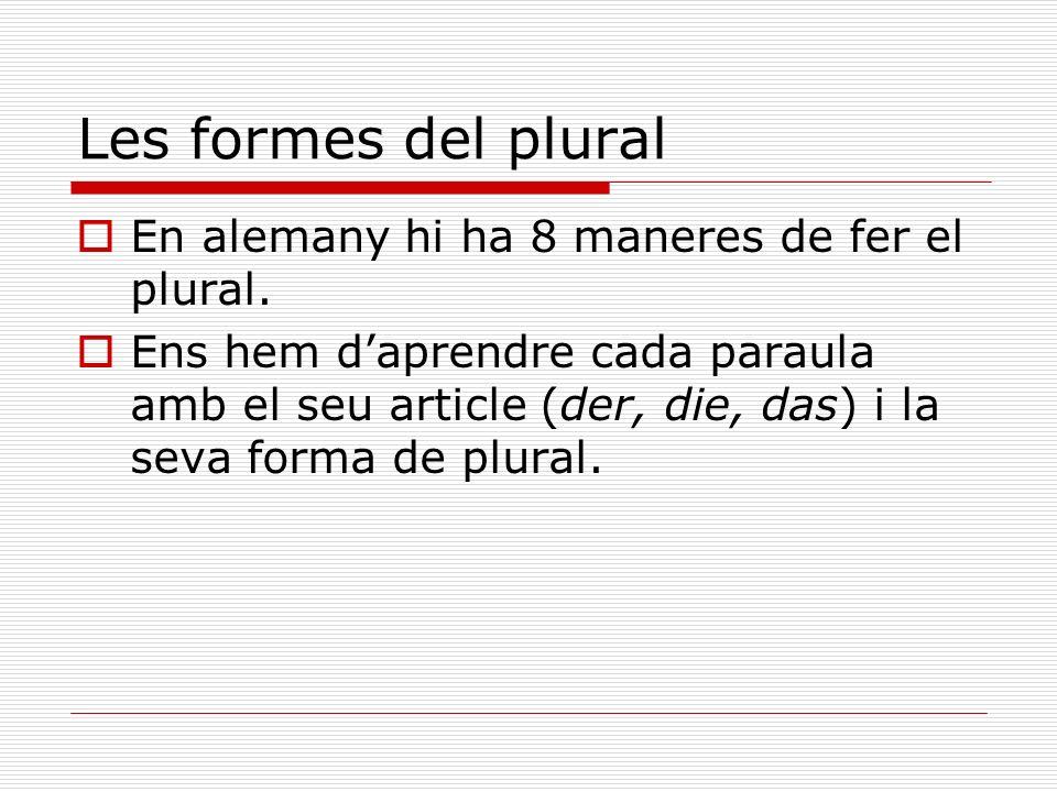 Les formes del plural En alemany hi ha 8 maneres de fer el plural. Ens hem daprendre cada paraula amb el seu article (der, die, das) i la seva forma d