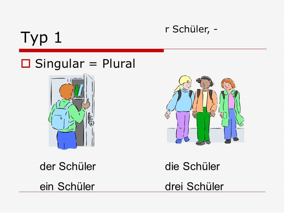 Typ 1 Singular = Plural der Schüler ein Schüler die Schüler drei Schüler r Schüler, -