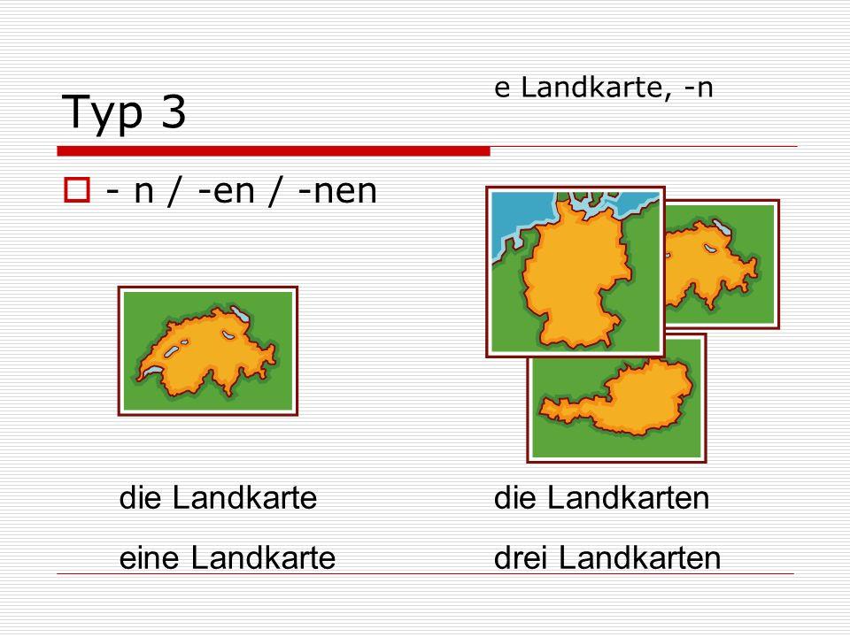 Typ 3 - n / -en / -nen die Landkarte eine Landkarte die Landkarten drei Landkarten e Landkarte, -n