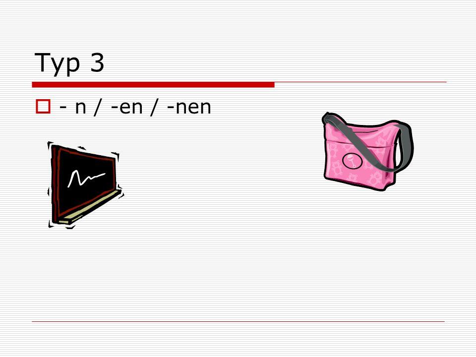 Typ 3 - n / -en / -nen