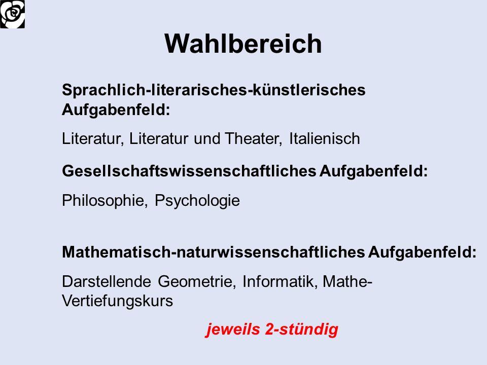 Mathematisch-naturwissenschaftliches Aufgabenfeld: Darstellende Geometrie, Informatik, Mathe- Vertiefungskurs jeweils 2-stündig Wahlbereich Sprachlich