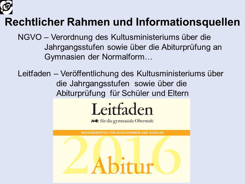 Rechtlicher Rahmen und Informationsquellen NGVO – Verordnung des Kultusministeriums über die Jahrgangsstufen sowie über die Abiturprüfung an Gymnasien