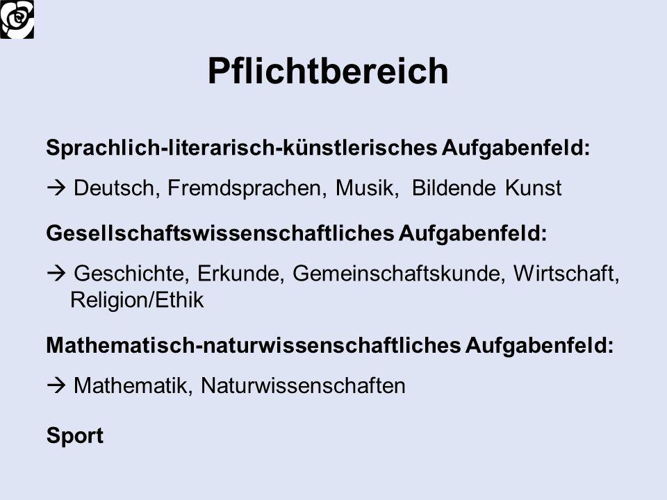 Pflichtbereich Sprachlich-literarisch-künstlerisches Aufgabenfeld: Deutsch, Fremdsprachen, Musik, Bildende Kunst Mathematisch-naturwissenschaftliches
