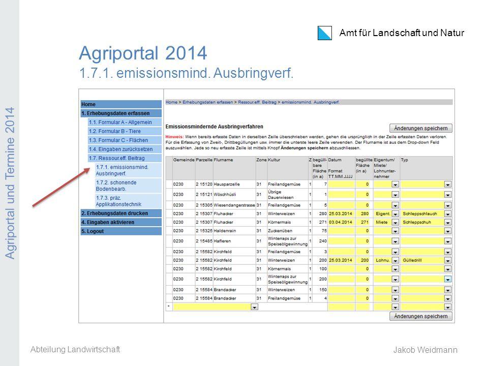 Amt für Landschaft und Natur Agriportal und Termine 2014 Jakob Weidmann Agriportal 2014 1.7.1. emissionsmind. Ausbringverf. Abteilung Landwirtschaft