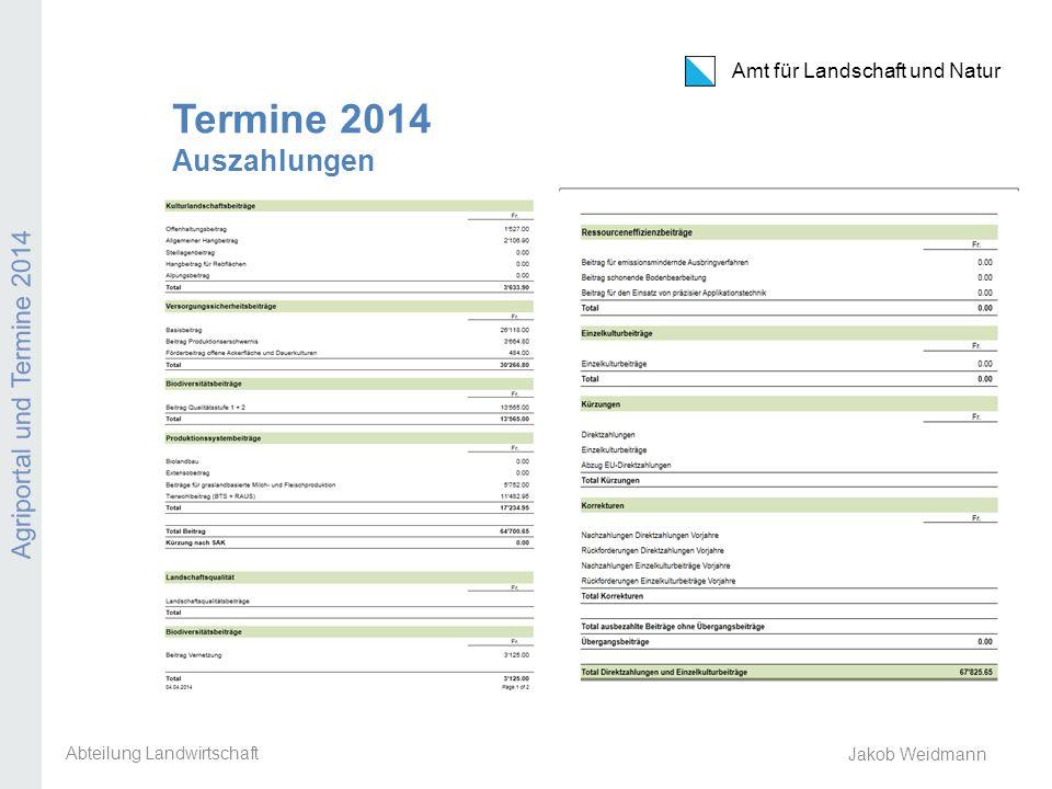 Amt für Landschaft und Natur Agriportal und Termine 2014 Jakob Weidmann Termine 2014 Auszahlungen Abteilung Landwirtschaft