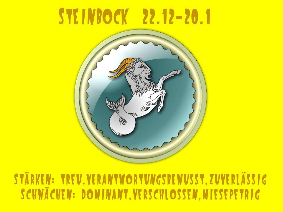 Steinbock 22.12-20.1 Stärken: treu,verantwortungsbewusst,zuverlässig Schwächen: dominant,verschlossen,miesepetrig