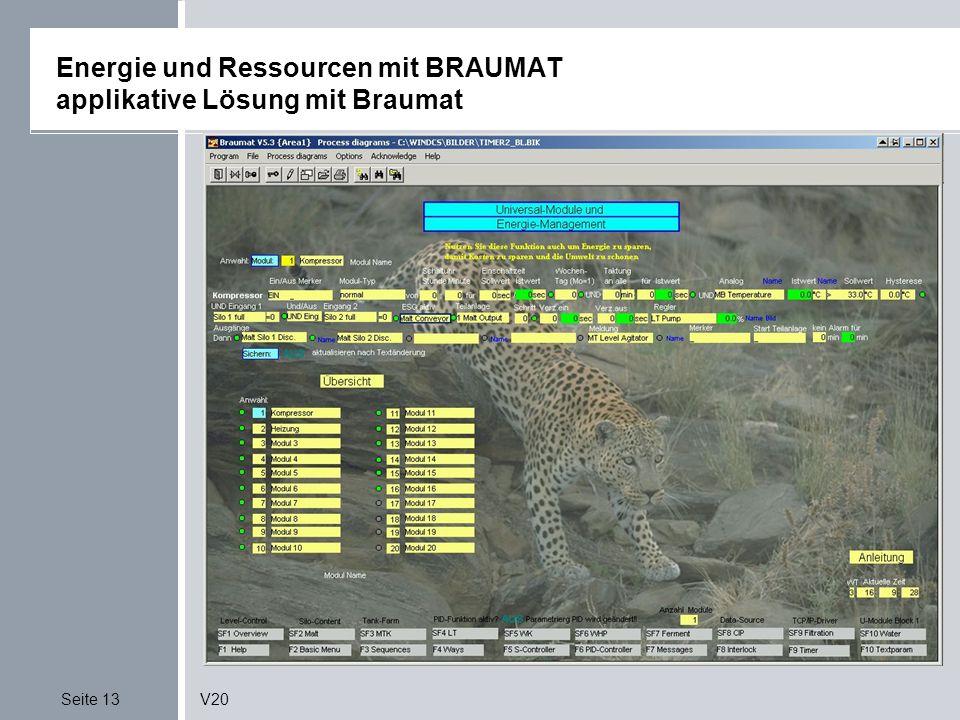 Seite 13V20 Energie und Ressourcen mit BRAUMAT applikative Lösung mit Braumat Quelle: EnergiemanagementSonderdruck zur Fachtagung;