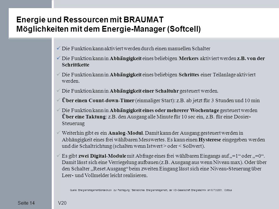 Seite 14V20 Energie und Ressourcen mit BRAUMAT Möglichkeiten mit dem Energie-Manager (Softcell) Quelle: EnergiemanagementSonderdruck zur Fachtagung;
