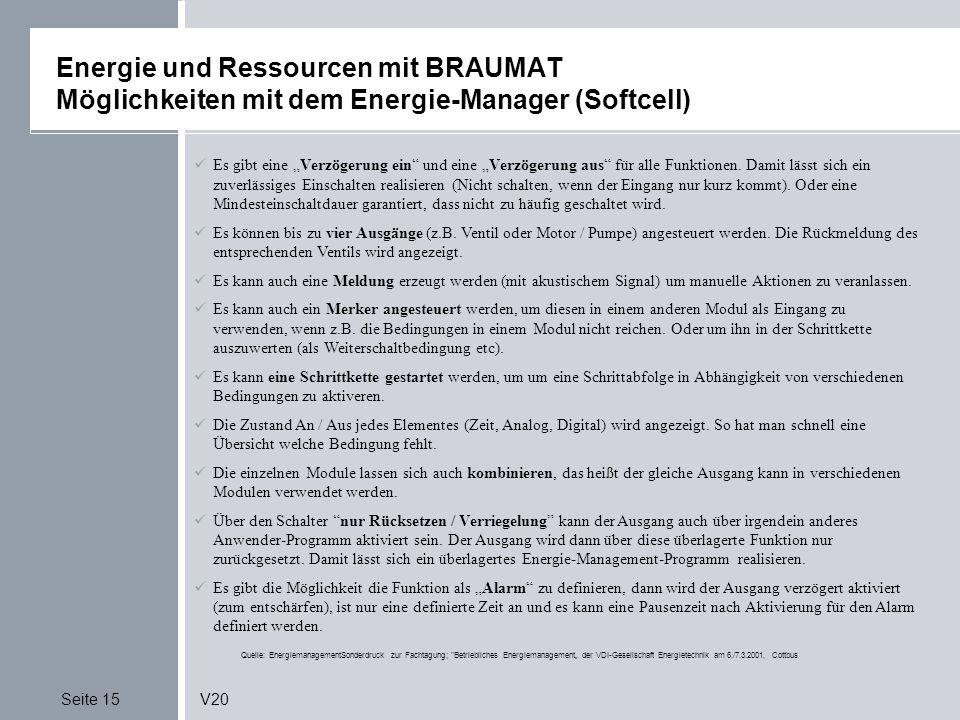 Seite 15V20 Energie und Ressourcen mit BRAUMAT Möglichkeiten mit dem Energie-Manager (Softcell) Quelle: EnergiemanagementSonderdruck zur Fachtagung;