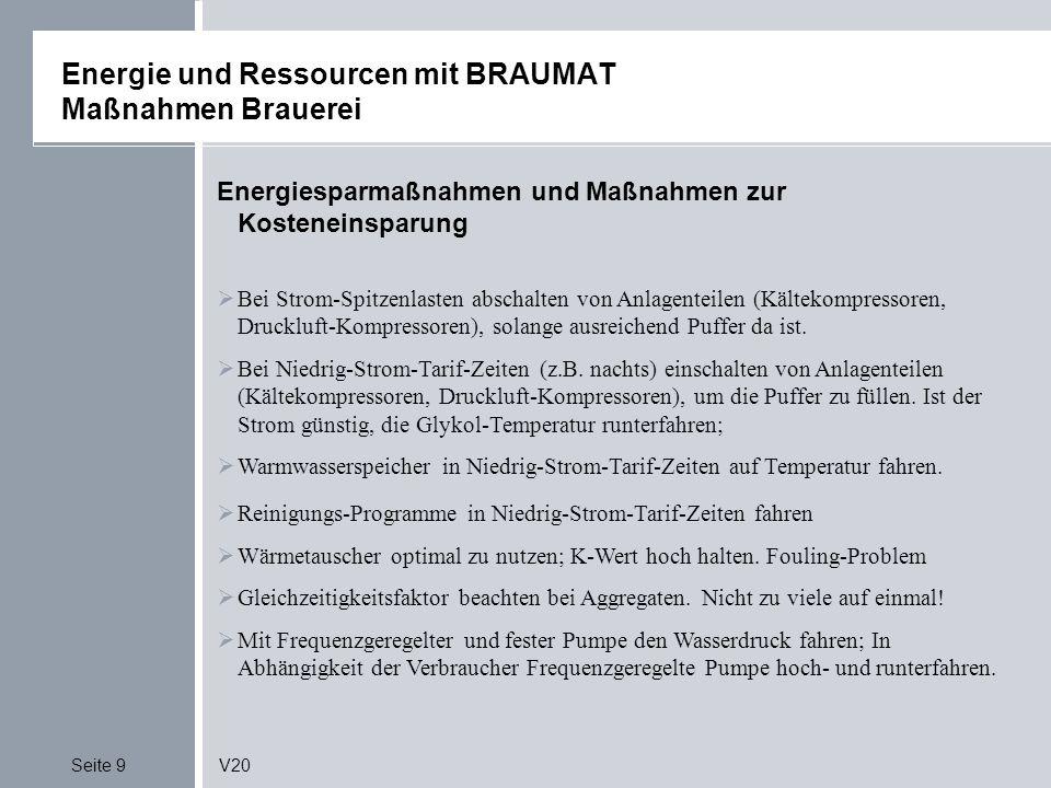 Seite 9V20 Energie und Ressourcen mit BRAUMAT Maßnahmen Brauerei Energiesparmaßnahmen und Maßnahmen zur Kosteneinsparung Bei Strom-Spitzenlasten absch