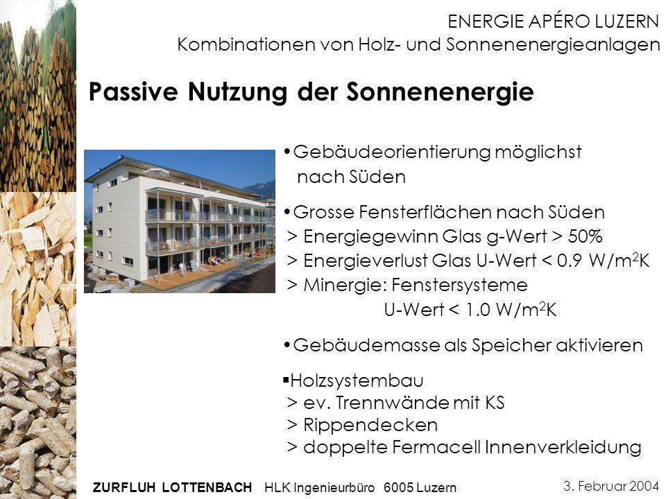 3. Februar 2004 ZURFLUH LOTTENBACH HLK Ingenieurbüro 6005 Luzern ENERGIE APÉRO LUZERN Kombinationen von Holz- und Sonnenenergieanlagen Passive Nutzung