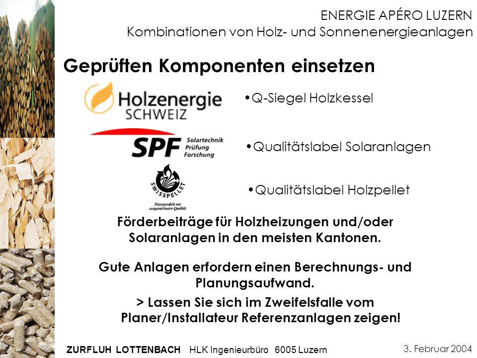 3. Februar 2004 ZURFLUH LOTTENBACH HLK Ingenieurbüro 6005 Luzern ENERGIE APÉRO LUZERN Kombinationen von Holz- und Sonnenenergieanlagen Geprüften Kompo