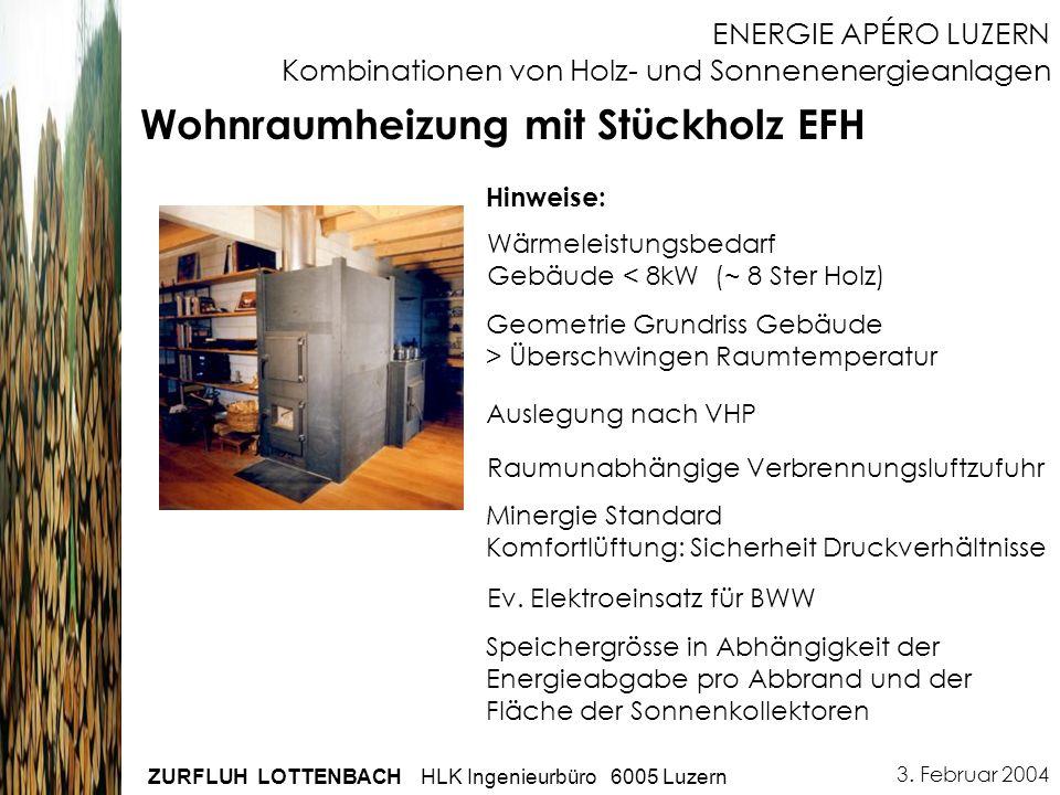 3. Februar 2004 ZURFLUH LOTTENBACH HLK Ingenieurbüro 6005 Luzern ENERGIE APÉRO LUZERN Kombinationen von Holz- und Sonnenenergieanlagen Wärmeleistungsb