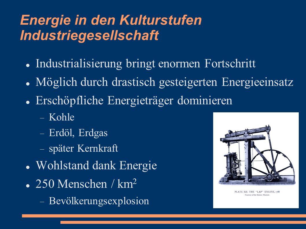 Energie in den Kulturstufen Industriegesellschaft Industrialisierung bringt enormen Fortschritt Möglich durch drastisch gesteigerten Energieeinsatz Er