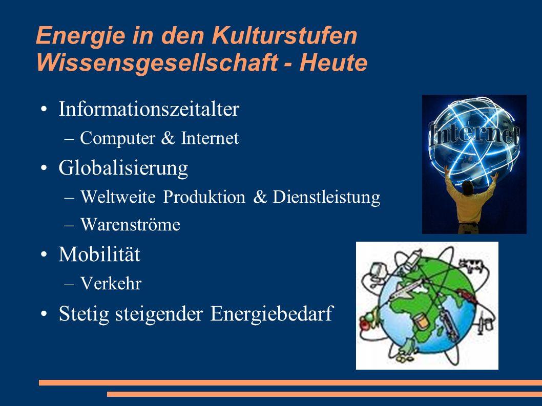 Energie in den Kulturstufen Wissensgesellschaft - Heute Informationszeitalter –Computer & Internet Globalisierung –Weltweite Produktion & Dienstleistu