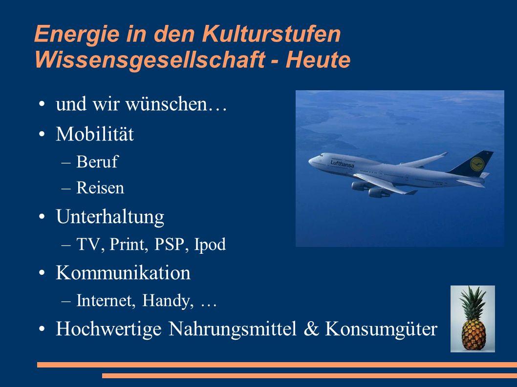 Energie in den Kulturstufen Wissensgesellschaft - Heute und wir wünschen… Mobilität –Beruf –Reisen Unterhaltung –TV, Print, PSP, Ipod Kommunikation –I