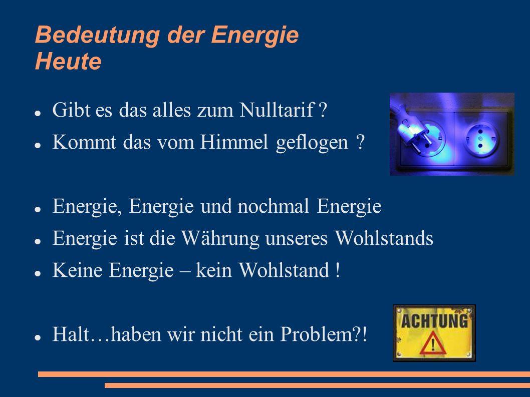 Bedeutung der Energie Heute Gibt es das alles zum Nulltarif ? Kommt das vom Himmel geflogen ? Energie, Energie und nochmal Energie Energie ist die Wäh