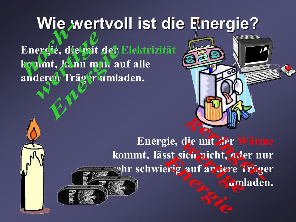 Wie wertvoll ist die Energie? Energie, die mit der Elektrizität kommt, kann man auf alle anderen Träger umladen. Energie, die mit der Wärme kommt, läs