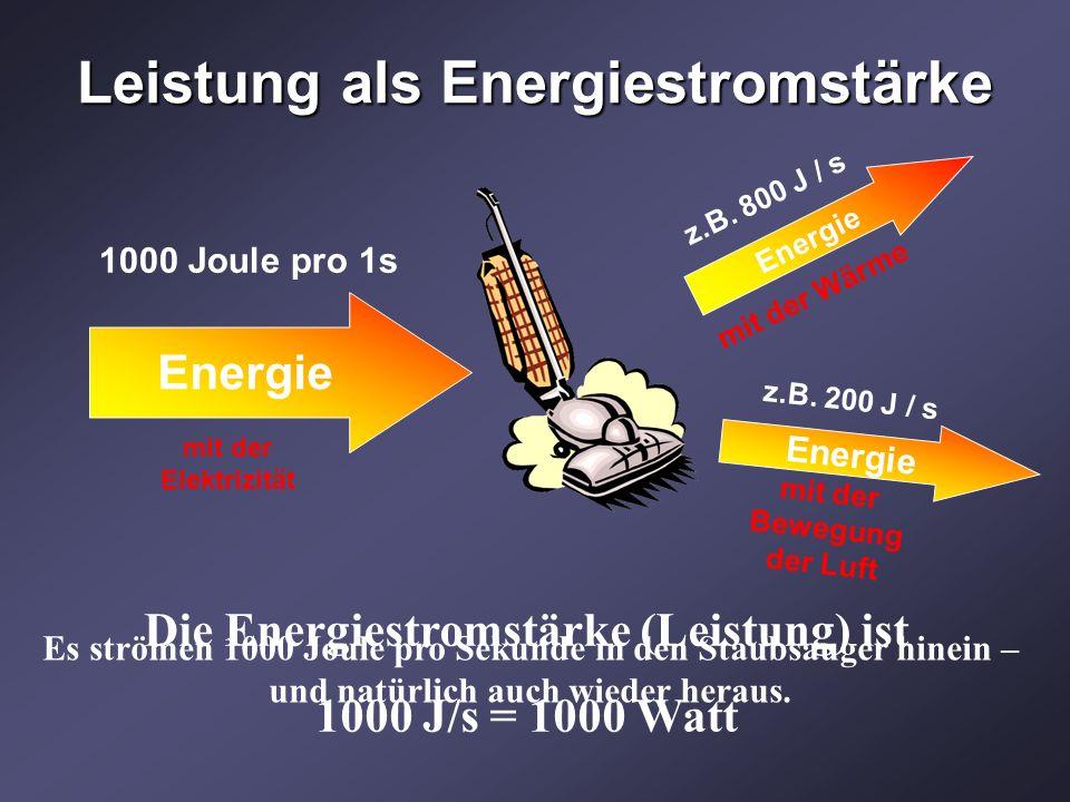 Leistung als Energiestromstärke Die Energiestromstärke (Leistung) ist 1000 J/s = 1000 Watt Es strömen 1000 Joule pro Sekunde in den Staubsauger hinein – und natürlich auch wieder heraus.