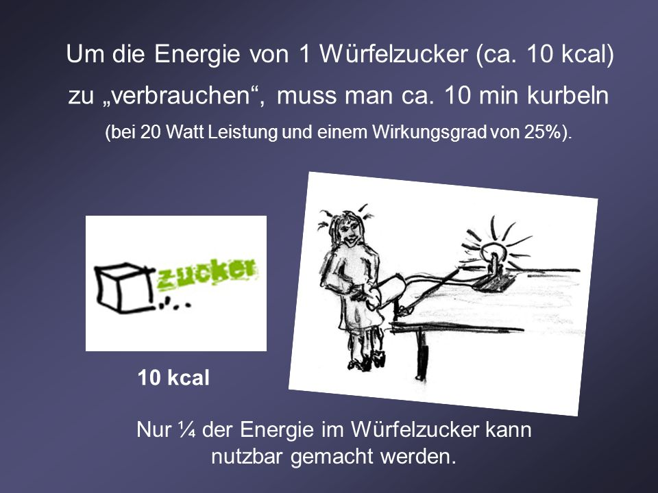 Um die Energie von 1 Würfelzucker (ca. 10 kcal) zu verbrauchen, muss man ca. 10 min kurbeln (bei 20 Watt Leistung und einem Wirkungsgrad von 25%). 10