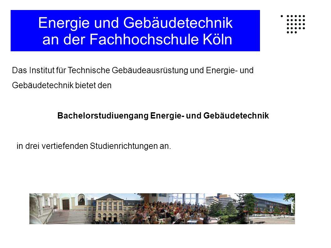 Das Institut für Technische Gebäudeausrüstung und Energie- und Gebäudetechnik bietet den Bachelorstudiuengang Energie- und Gebäudetechnik in drei vert