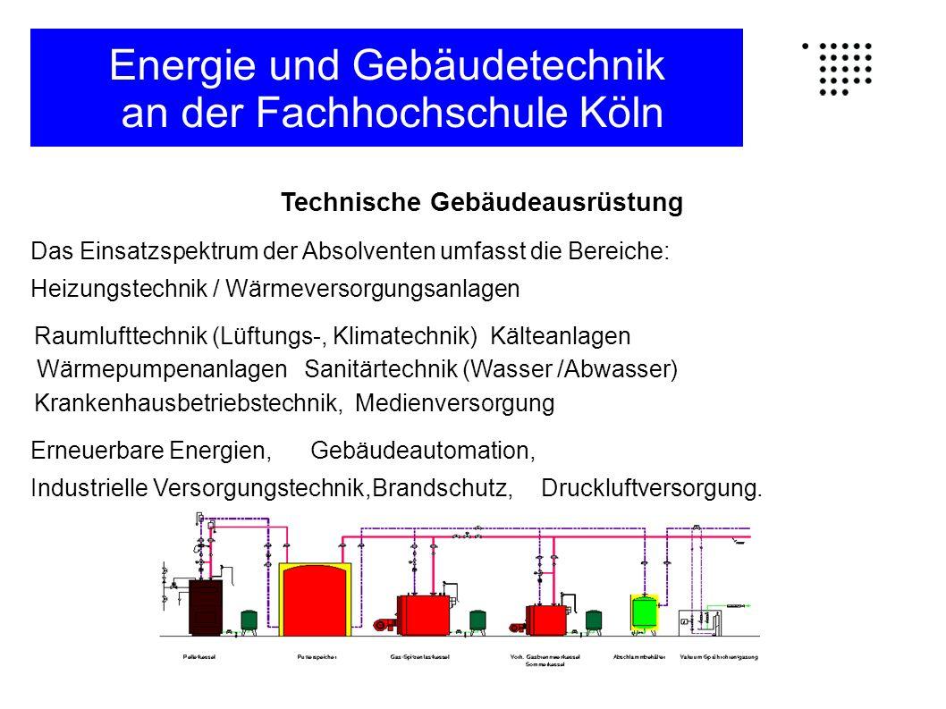 Elektrische Gebäudesystemtechnik (EGS) Das Einsatzspektrum der Absolventen umfasst die Bereiche: Elektrischen Gebäudeinstallationen (Kabel/Leitungen, Dimensionierung, Einspeisung, Trafo etc.), Gebäudesystemtechnik (EIB-BUS-Systeme, Zugangskontrollsysteme, EDV- Verkabelung etc.), Brandmeldeanlagen, Licht-/Beleuchtungstechnik,Blitzschutzanlagen,Fördertechnik, Elektroakustische Anlagen (ELA-Anlagen) und Lichtrufanlagen, Einbruchmeldeanlagen und Videoüberwachung, Blockheizkraftwerke und Kraftwärme(kälte)kopplung (BHKW und KWK-Anlagen), Einbindung von erneuerbaren Energien (Photovoltaik, Windkraftanlagen), Energie und Gebäudetechnik an der Fachhochschule Köln