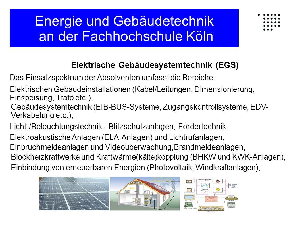 Elektrische Gebäudesystemtechnik (EGS) Das Einsatzspektrum der Absolventen umfasst die Bereiche: Elektrischen Gebäudeinstallationen (Kabel/Leitungen,