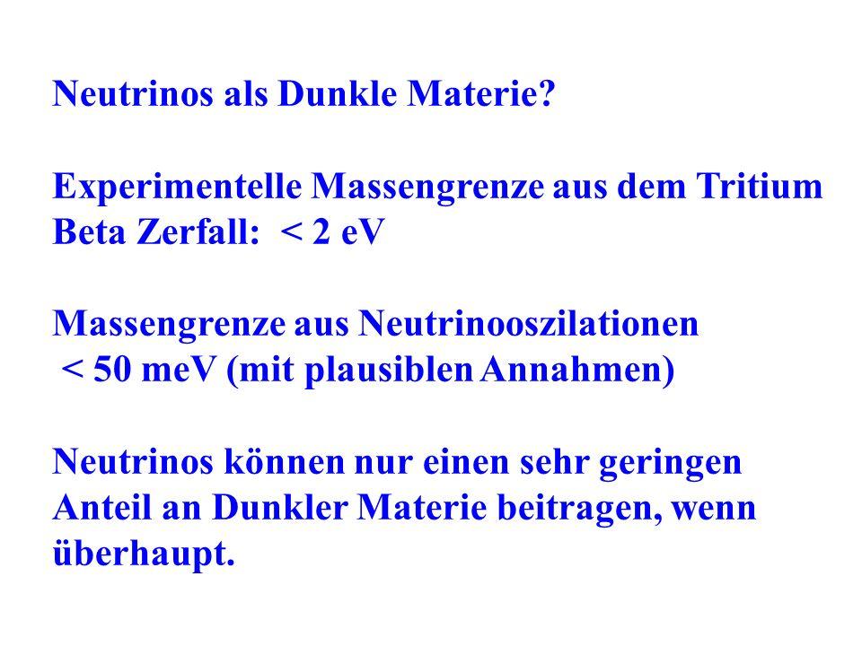 Neutrinos als Dunkle Materie? Experimentelle Massengrenze aus dem Tritium Beta Zerfall: < 2 eV Massengrenze aus Neutrinooszilationen < 50 meV (mit pla