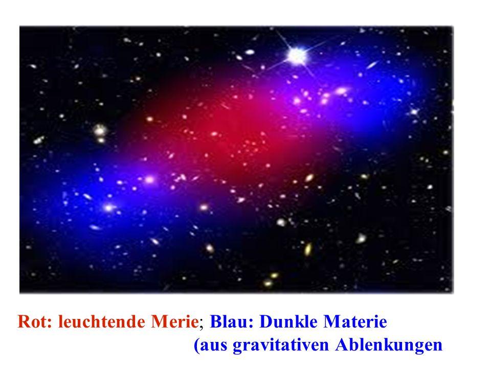 Rot: leuchtende Merie; Blau: Dunkle Materie (aus gravitativen Ablenkungen