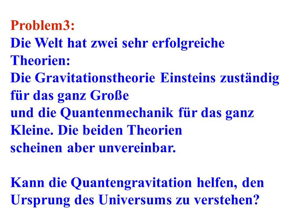 Problem3: Die Welt hat zwei sehr erfolgreiche Theorien: Die Gravitationstheorie Einsteins zuständig für das ganz Große und die Quantenmechanik für das