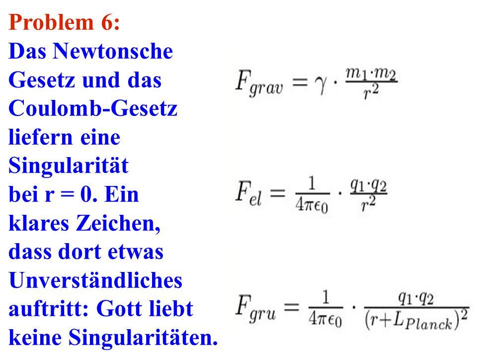 Problem 6: Das Newtonsche Gesetz und das Coulomb-Gesetz liefern eine Singularität bei r = 0. Ein klares Zeichen, dass dort etwas Unverständliches auft