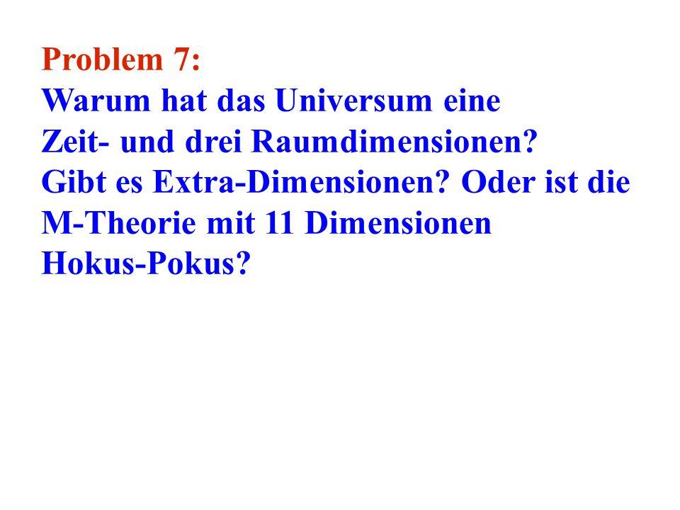 Problem 7: Warum hat das Universum eine Zeit- und drei Raumdimensionen? Gibt es Extra-Dimensionen? Oder ist die M-Theorie mit 11 Dimensionen Hokus-Pok