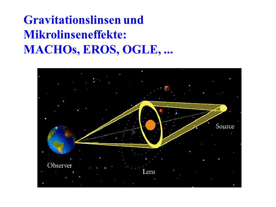 Gravitationslinsen und Mikrolinseneffekte: MACHOs, EROS, OGLE,...