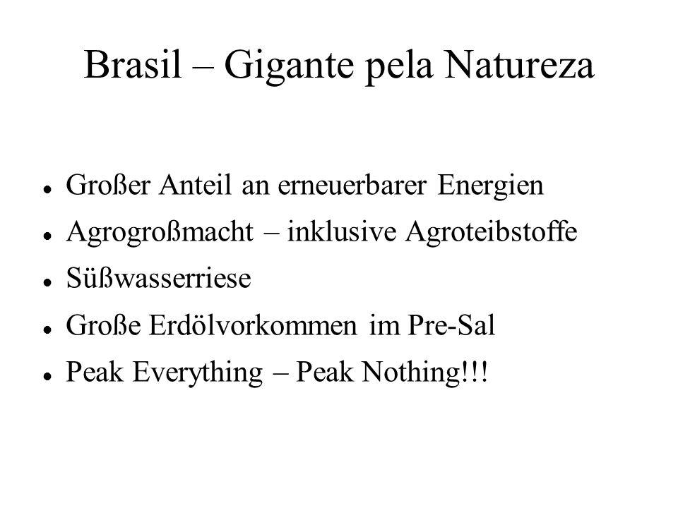 Brasil – Gigante pela Natureza Großer Anteil an erneuerbarer Energien Agrogroßmacht – inklusive Agroteibstoffe Süßwasserriese Große Erdölvorkommen im Pre-Sal Peak Everything – Peak Nothing!!!