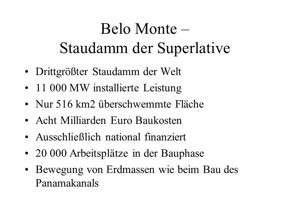 Belo Monte – Staudamm der Superlative Drittgrößter Staudamm der Welt 11 000 MW installierte Leistung Nur 516 km2 überschwemmte Fläche Acht Milliarden Euro Baukosten Ausschließlich national finanziert 20 000 Arbeitsplätze in der Bauphase Bewegung von Erdmassen wie beim Bau des Panamakanals