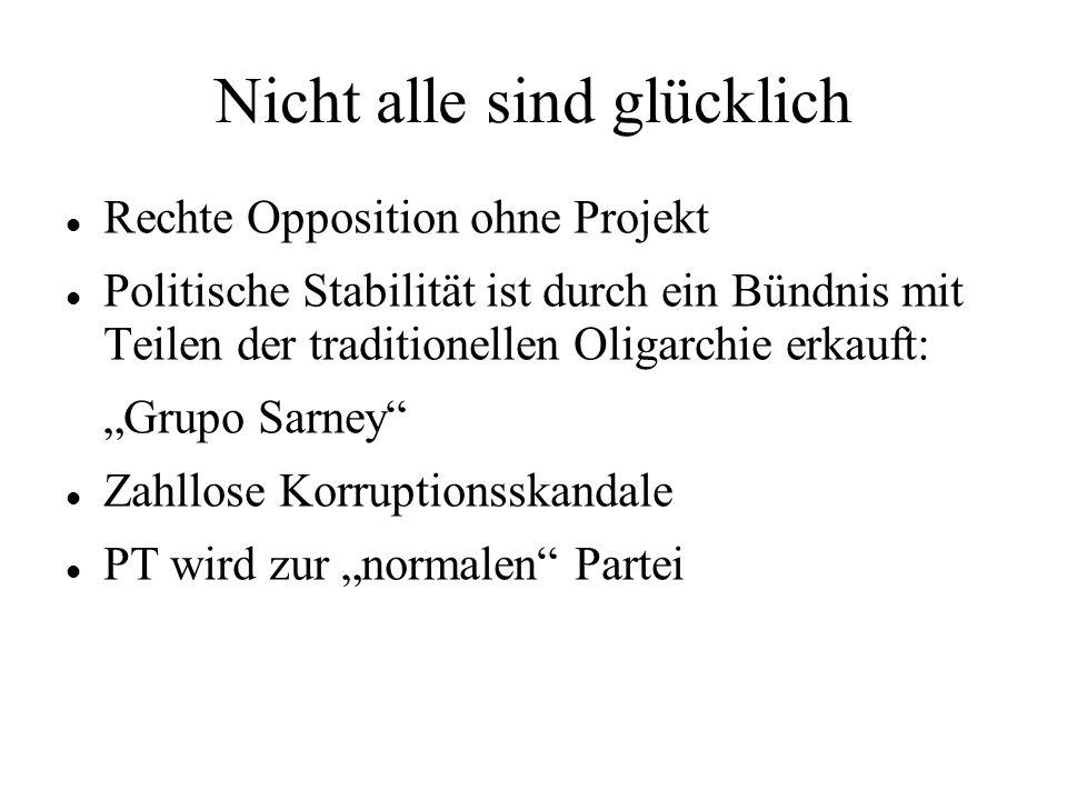 Nicht alle sind glücklich Rechte Opposition ohne Projekt Politische Stabilität ist durch ein Bündnis mit Teilen der traditionellen Oligarchie erkauft: Grupo Sarney Zahllose Korruptionsskandale PT wird zur normalen Partei