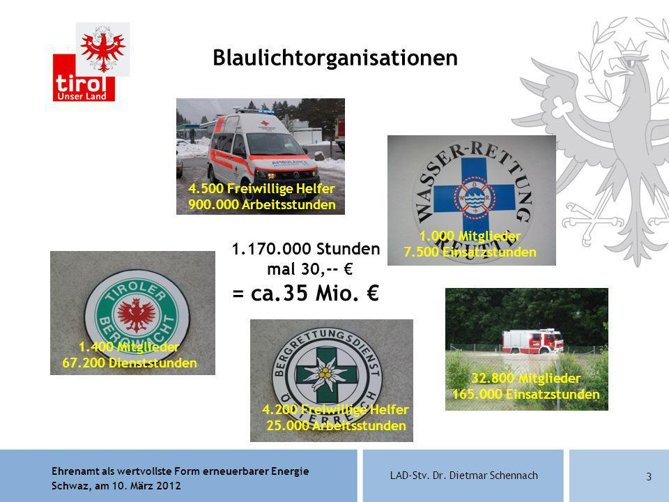 Ehrenamt als wertvollste Form erneuerbarer Energie Schwaz, am 10. März 2012 LAD-Stv. Dr. Dietmar Schennach 3 Blaulichtorganisationen 4.500 Freiwillige