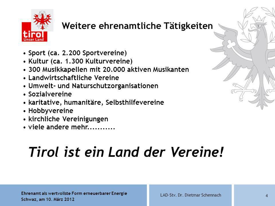 Ehrenamt als wertvollste Form erneuerbarer Energie Schwaz, am 10. März 2012 LAD-Stv. Dr. Dietmar Schennach 4 Weitere ehrenamtliche Tätigkeiten Sport (