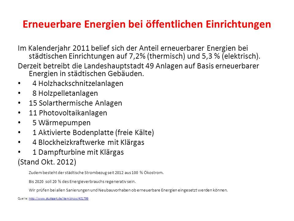 Erneuerbare Energien bei öffentlichen Einrichtungen Im Kalenderjahr 2011 belief sich der Anteil erneuerbarer Energien bei städtischen Einrichtungen au