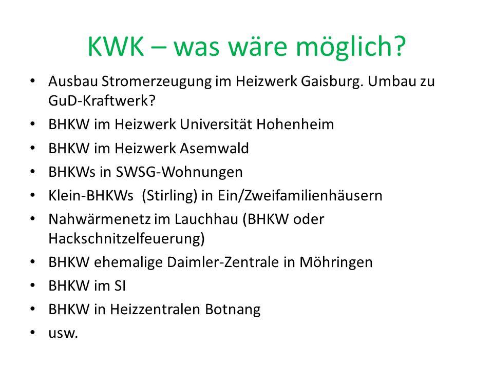 KWK – was wäre möglich? Ausbau Stromerzeugung im Heizwerk Gaisburg. Umbau zu GuD-Kraftwerk? BHKW im Heizwerk Universität Hohenheim BHKW im Heizwerk As