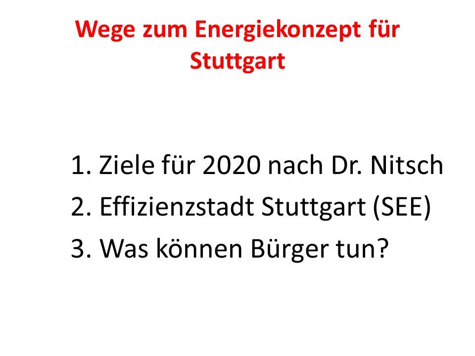 Wege zum Energiekonzept für Stuttgart 1. Ziele für 2020 nach Dr. Nitsch 2. Effizienzstadt Stuttgart (SEE) 3. Was können Bürger tun?