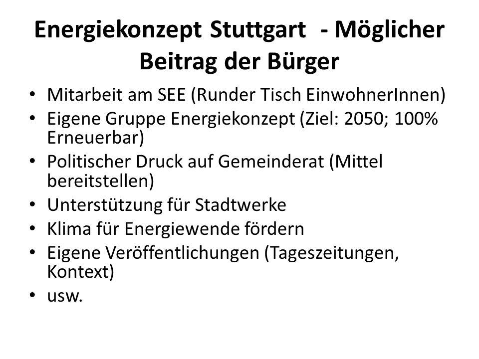 Energiekonzept Stuttgart - Möglicher Beitrag der Bürger Mitarbeit am SEE (Runder Tisch EinwohnerInnen) Eigene Gruppe Energiekonzept (Ziel: 2050; 100%