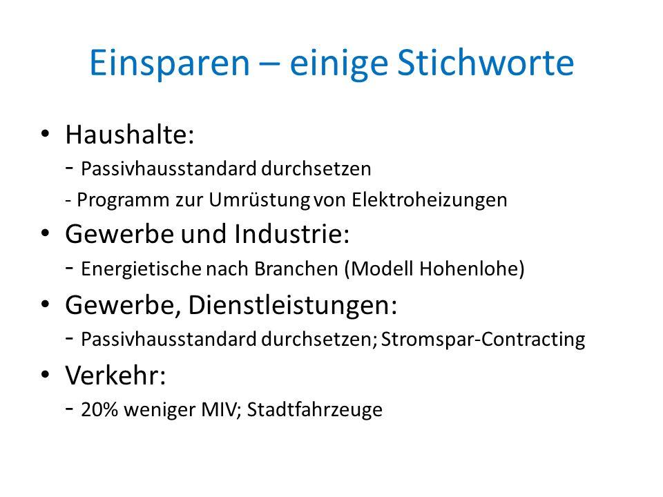 Beispiel: Stadtwerke Tübingen Null-Komma-Strom Ziel : Einsparung von 1,5 Mio.