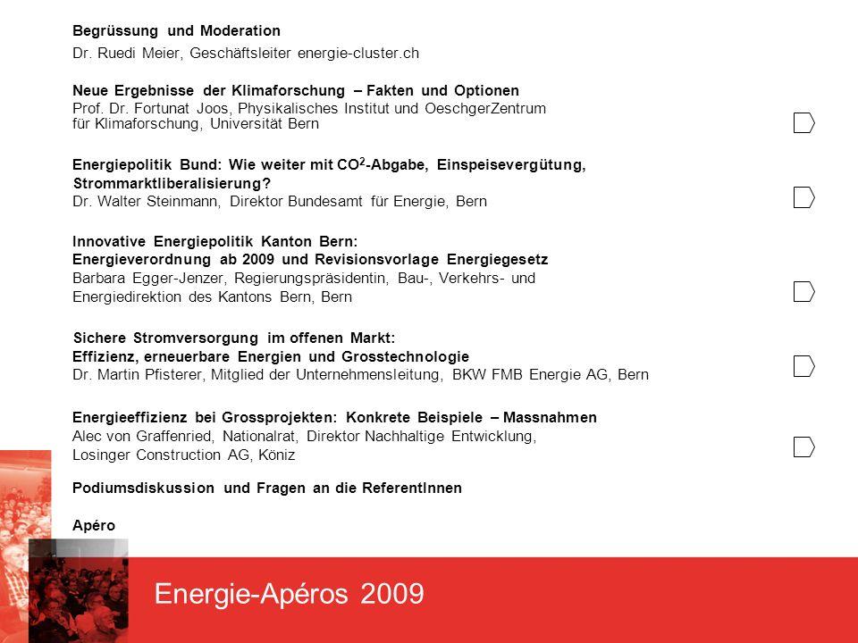 Energie-Apéros 2009 Begrüssung und Moderation Dr.