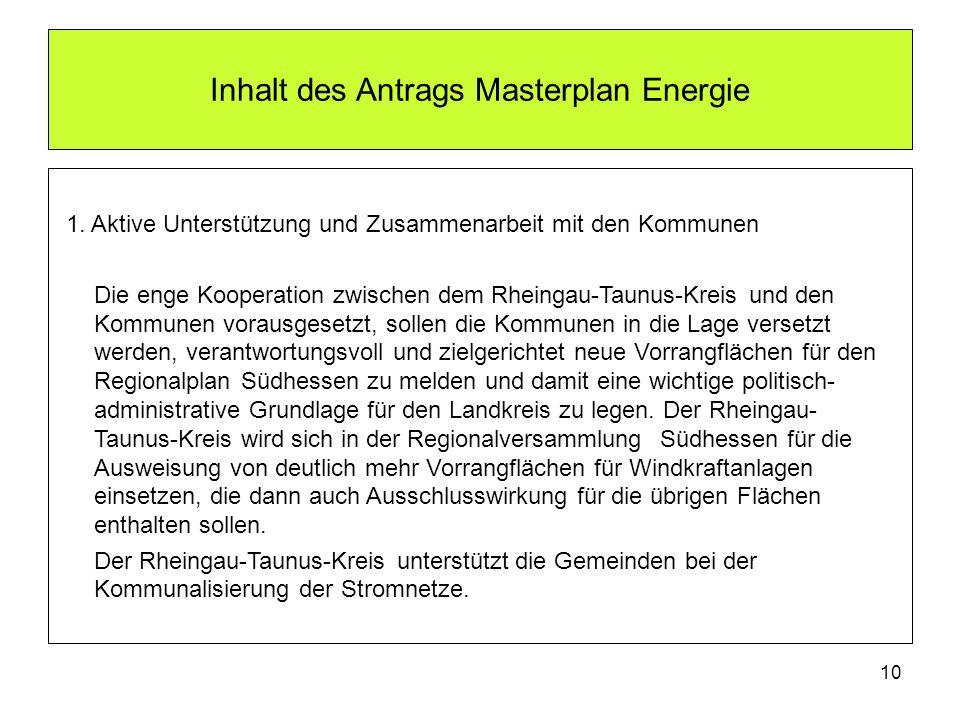 Inhalt des Antrags Masterplan Energie 1. Aktive Unterstützung und Zusammenarbeit mit den Kommunen Die enge Kooperation zwischen dem Rheingau-Taunus-Kr