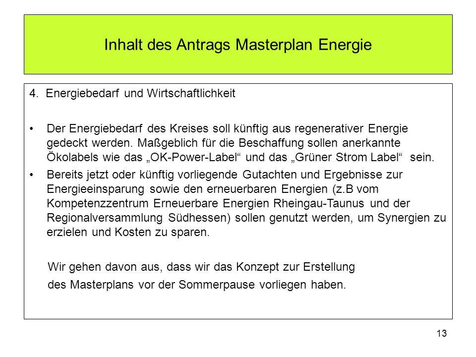 Inhalt des Antrags Masterplan Energie 4. Energiebedarf und Wirtschaftlichkeit Der Energiebedarf des Kreises soll künftig aus regenerativer Energie ged