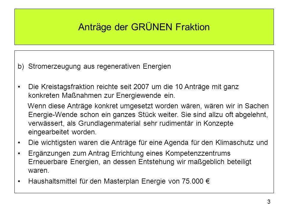 Anträge der GRÜNEN Fraktion b) Stromerzeugung aus regenerativen Energien Die Kreistagsfraktion reichte seit 2007 um die 10 Anträge mit ganz konkreten