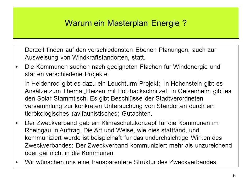 Warum ein Masterplan Energie ? Derzeit finden auf den verschiedensten Ebenen Planungen, auch zur Ausweisung von Windkraftstandorten, statt. Die Kommun