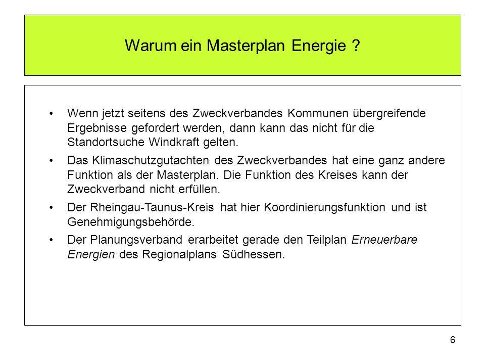Warum ein Masterplan Energie ? Wenn jetzt seitens des Zweckverbandes Kommunen übergreifende Ergebnisse gefordert werden, dann kann das nicht für die S