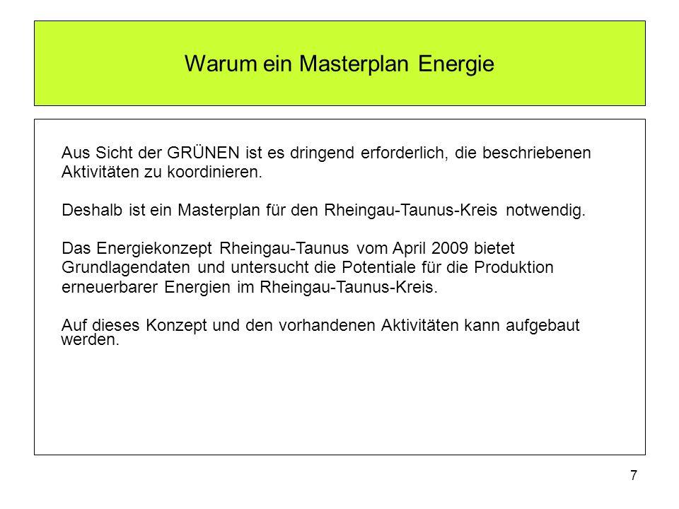 8 Inhalt des Antrags Masterplan Energie GRÜNER Antrag einstimmig beschlossen im November 2011 Der Kreistag möge beschließen: Der Kreistag bekennt sich zum Ziel einer nachhaltigen, umweltschonenden und sicheren Energieversorgung im Rheingau-Taunus-Kreis aus regenerativen Energien sowie zum mittelfristigen Ziel, bis zum Jahr 2020 im Rheingau-Taunus-Kreis nicht mehr Strom zu verbrauchen als gleichzeitig aus erneuerbaren Energien erzeugt wird.